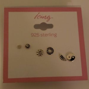 Set Of 3 925 Flat Sterling Silver Earrings